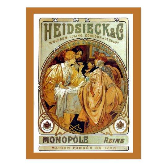 Vintage Mucha Heidsieck & Co. Postcard