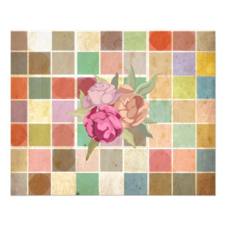 Vintage Multicolored Square Background Pattern Flyer Design