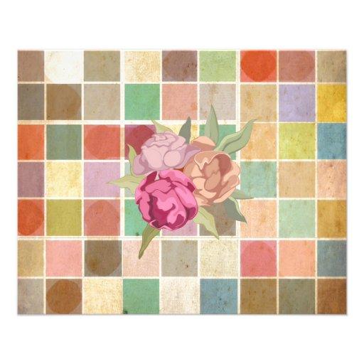 Vintage Multicolored Square Background Pattern Flyer Design
