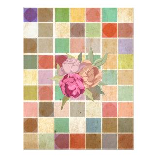 Vintage Multicolored Square Background Pattern Full Color Flyer