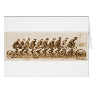 Vintage multple person Tandem Bicycle old photo Greeting Card