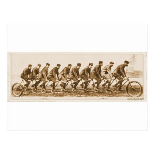 Vintage multple person Tandem Bicycle old photo Post Card