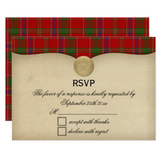 Vintage Munro Family Tartan Plaid Wedding RSVP Card