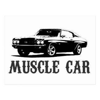 vintage muscle car postcard