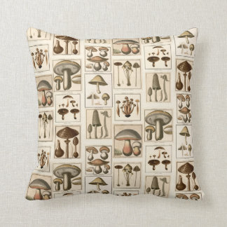 Vintage Mushroom Botanical Prints Pillow