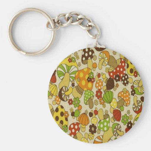 Vintage Mushrooms Basic Round Button Key Ring