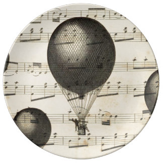 Vintage Music and Antique Hot Air Balloons Porcelain Plates