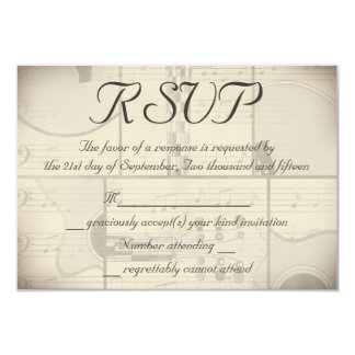 Vintage Music and Pop Art Guitar Wedding RSVP 9 Cm X 13 Cm Invitation Card