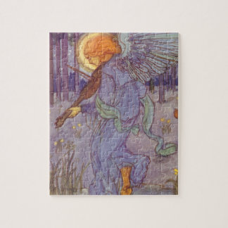 Vintage Music, Angel Playing a Violin in a Forest Jigsaw Puzzle