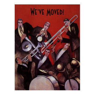Vintage Music Art Deco Jazz Band Change of Address Postcard