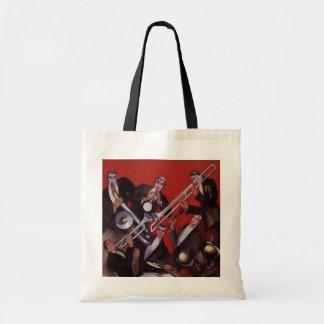 Vintage Music, Art Deco Musical Jazz Band Jamming Budget Tote Bag