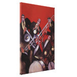 Vintage Music, Art Deco Musical Jazz Band Jamming Canvas Print