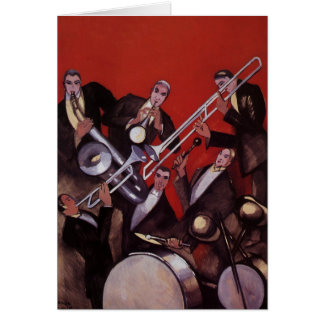 Vintage Music, Art Deco Musical Jazz Band Jamming Card