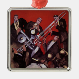 Vintage Music, Art Deco Musical Jazz Band Jamming Christmas Ornament