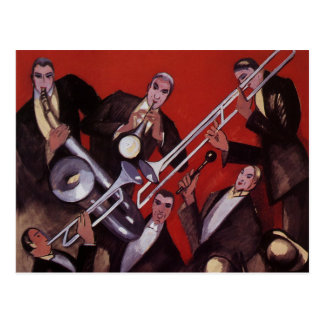 Vintage Music, Art Deco Musical Jazz Band Jamming Postcard