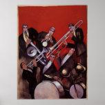 Vintage Music, Art Deco Musical Jazz Band Jamming Poster