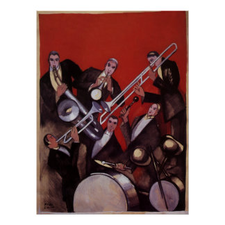 Vintage Music, Art Deco Musical Jazz Band Jamming Poster