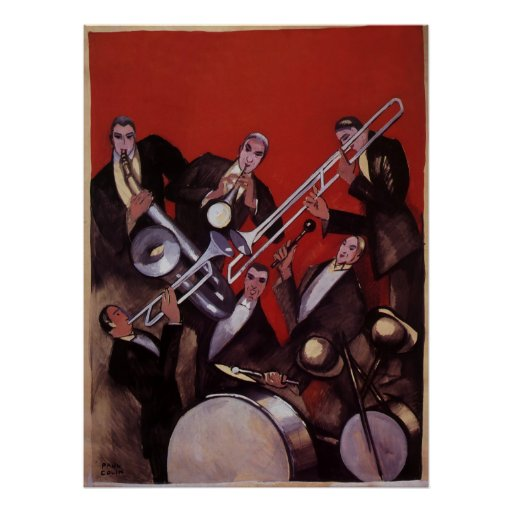 Vintage Music Art Deco Musical Jazz Band Jamming Poster