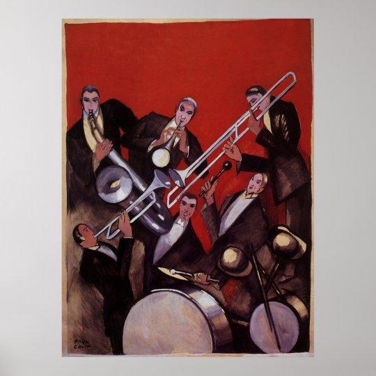 Vintage Music, Art Deco Musical Jazz Band Jamming