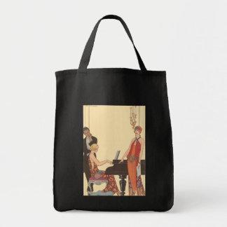 Vintage Music, Art Deco Pianist Musician Singer Bags