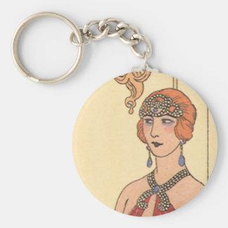 Vintage Music, Art Deco Pianist Musician Singer Basic Round Button Key Ring