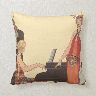 Vintage Music, Art Deco Pianist Musician Singer Cushion