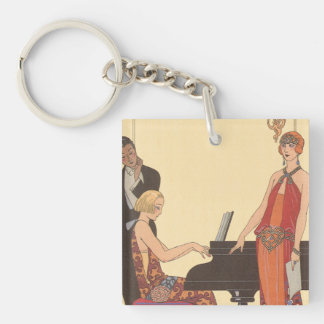 Vintage Music, Art Deco Pianist Musician Singer Double-Sided Square Acrylic Key Ring