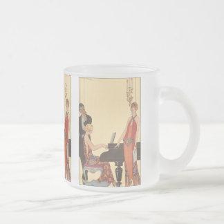 Vintage Music, Art Deco Pianist Musician Singer Frosted Glass Mug