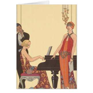 Vintage Music, Art Deco Pianist Musician Singer Greeting Card