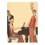 Vintage Music, Art Deco Pianist Musician Singer Postcards