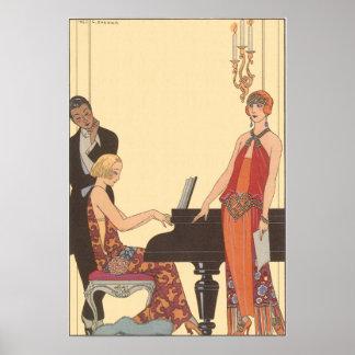 Vintage Music, Art Deco Pianist Musician Singer Posters