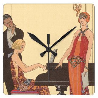 Vintage Music, Art Deco Pianist Musician Singer Square Wall Clock