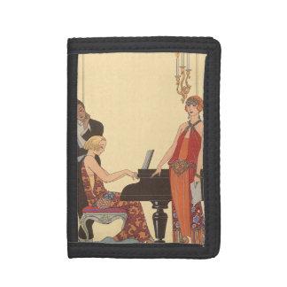 Vintage Music, Art Deco Pianist Musician Singer Trifold Wallet