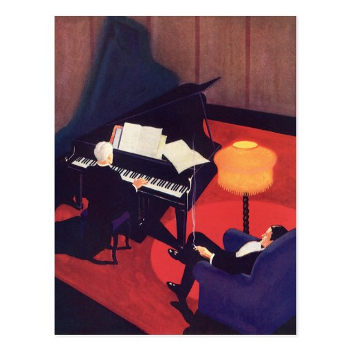 Vintage Music Art Deco Pianist Piano Player Lounge Post Cards