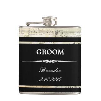 Vintage Music Black GROOM Wedding Flask