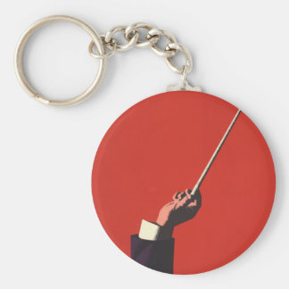 Vintage Music, Conductor's Hand Holding a Baton Basic Round Button Key Ring