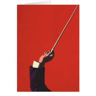 Vintage Music, Conductor's Hand Holding a Baton Greeting Card