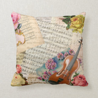 Vintage music flowers rose violin throw pillow throw cushion