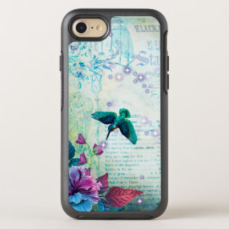 Vintage Music Hummingbird lavender teal mauve blue OtterBox Symmetry iPhone 8/7 Case