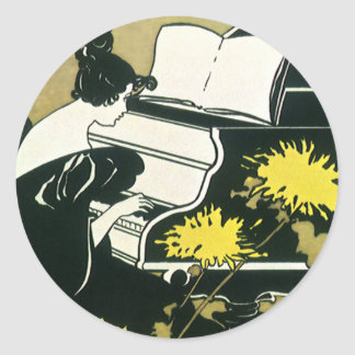Vintage Music, Miss Traumerei Playing Piano, Reed Round Sticker