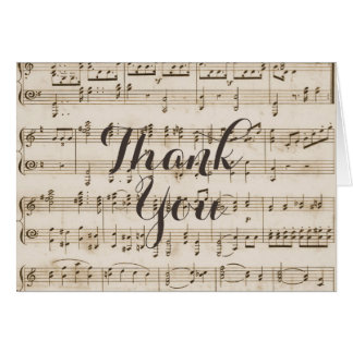 Vintage Music Notes Baby Shower Thank You