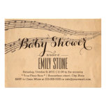 Vintage Music Notes Musical Baby Shower Announcements
