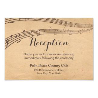 Vintage Music Notes Musical Wedding Reception 9 Cm X 13 Cm Invitation Card