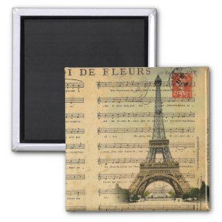 Vintage music notes Paris Eiffel Tower Square Magnet
