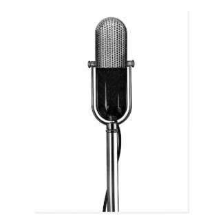 Vintage Music, Old Fashoined Retro Microphone Postcard