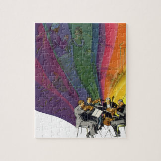 Vintage Music Rainbow, Victorian Couple Dancing Jigsaw Puzzle