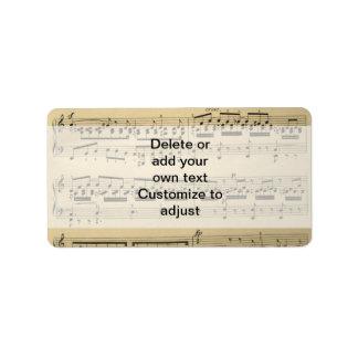 Vintage Music Sheet Address Label