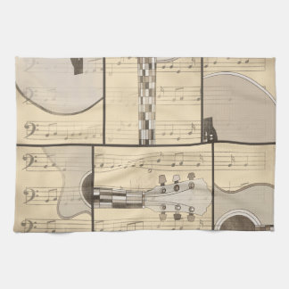 Vintage Music Sheet and Pop Art Abstract Guitar Hand Towel