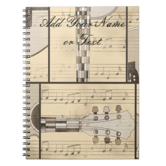 Vintage Music Sheet and Pop Art Abstract Guitar Notebook