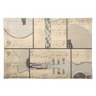 Vintage Music Sheet and Pop Art Abstract Guitar Placemat